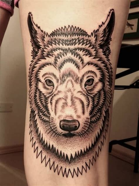 white wolf tattoo designed black and white wolf on leg tattoos