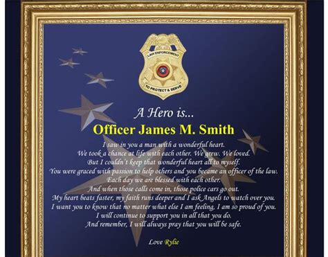 officer promotion certificate frame law enforcement gifts for him sheriff police department