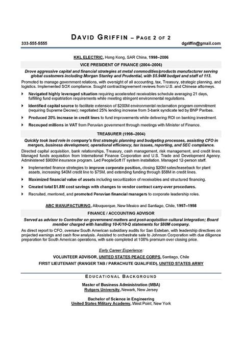 Cfo Resume by Cfo Sle Resume Chief Financial Officer Resume