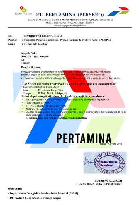 contoh penipuan undangan tes pt pertamina persero