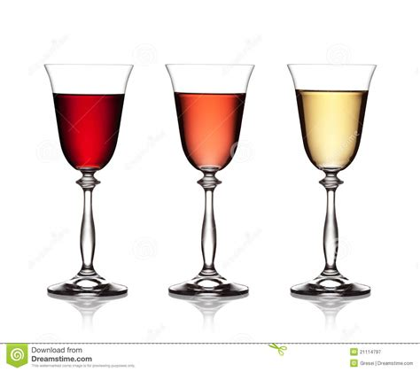 white and red rose wine glass glass of red rose and white wine royalty free stock