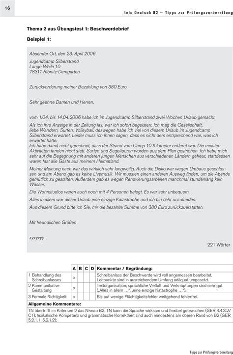 Beschwerdebrief Niveau B2 tipps zur pr 220 fungsvorbereitung pdf