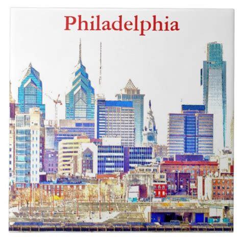 philadelphia skyline color sketch tile zazzle