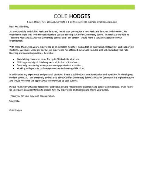cover letter for teaching assistant best assistant cover letter exles livecareer