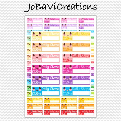 kawaii stickers planner printable to do to go to buy to clean kawaii daily steps walk stickers planner coloful printable
