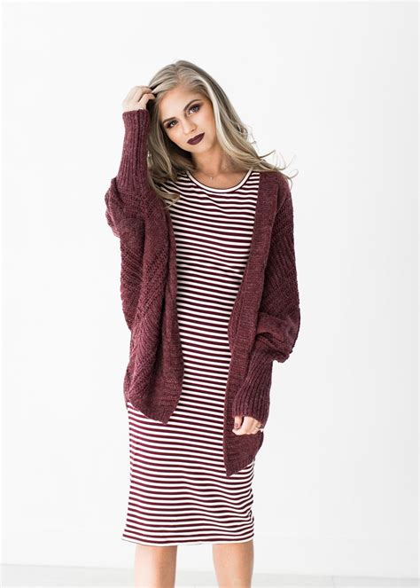 Dress Bele Stripe burgandy stripe dress new years