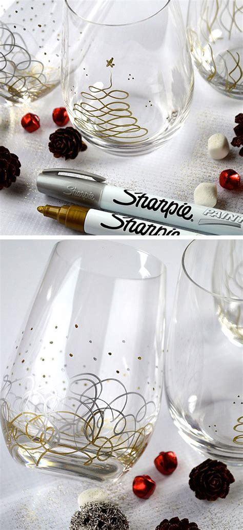 sharpie christmas glasses diy holiday gift ideas for