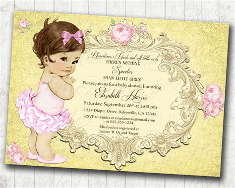 Vintage Invitations Baby Shower by Princess Baby Shower Invitation Baby Shower