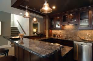 Wet Bars In Basements Basement Wet Bar Traditional Basement Rubble Tile