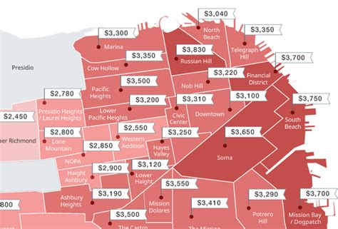 san francisco rental map this map shows the stupidly high rents across sf neighborhoods