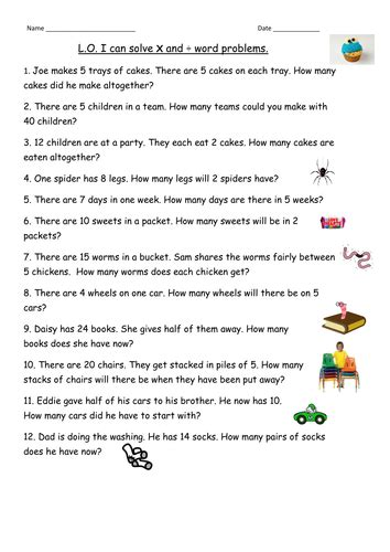 Multiplication Amp Division Word Problems For Year 2 By
