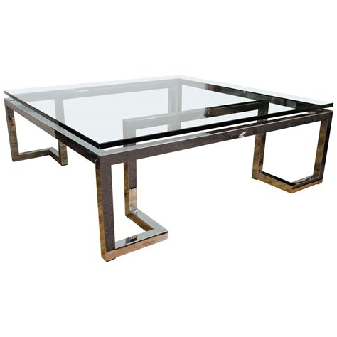 chrome coffee table midcentury glass top coffee or cocktail table with chrome