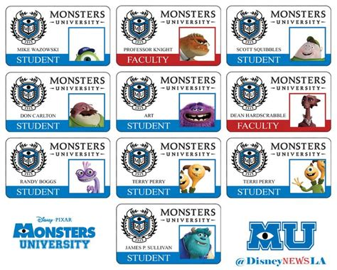 Monsters Student Card Template by Id Cards Monsters Monsters