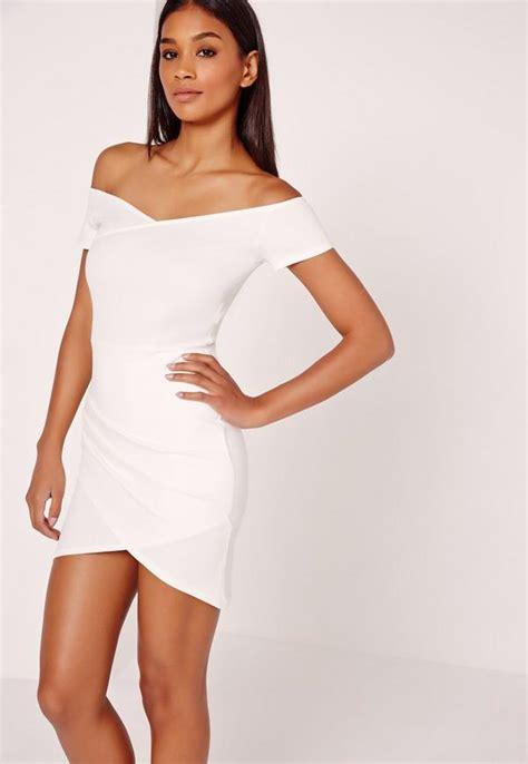 Bodycon White Dress wrap bardot bodycon dress white missguided
