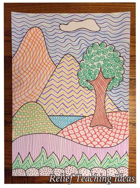 Textured Landscape Lesson 2nd Grade Implied Texture Landscape Lessons