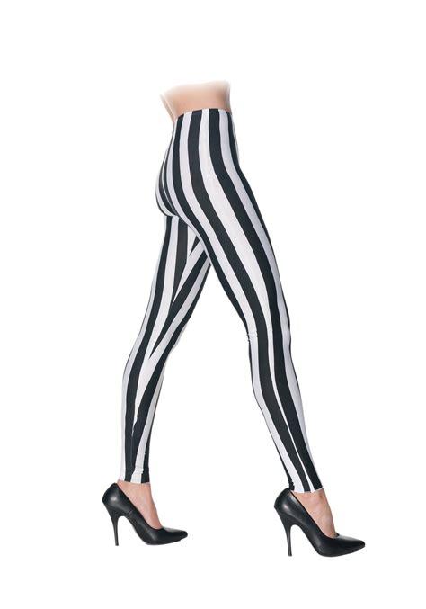 black and white patterned tights black white striped leggings