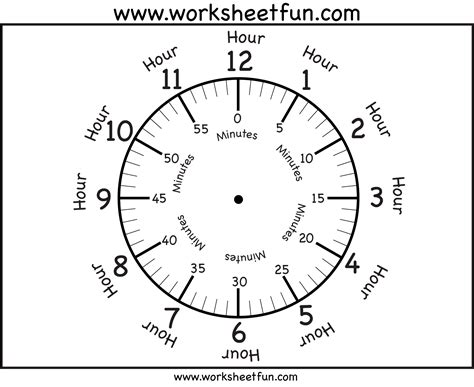 printable clocks to the hour time printable clock face 4 worksheets free