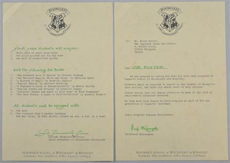 Real Harry Potter Acceptance Letter Harry Potter And The Philosophers 2001 A Prop Produc