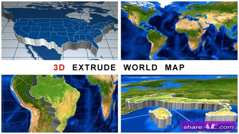 3d Extrude World Map Videohive 187 Free After Effects Templates After Effects Intro Template 3d Globe After Effects Template