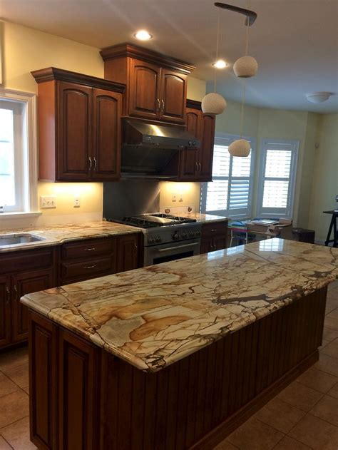 An in progress photo of a kitchen countertop replacement