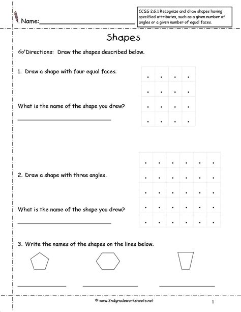 Ccss Math Worksheets by Common Geometry Worksheets 2nd Grade Math Common
