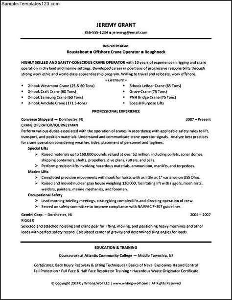 Construction Operator Sle Resume by Construction Operator Resume Sle Templates Sle Templates