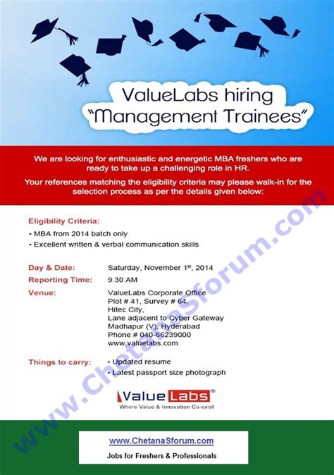 Mba Fresher In Hyderabad Walkins by Freshers Walk In Valuelabs Mba Management