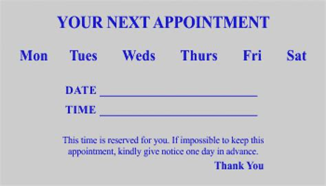appointment card template dental appointment cards templates arts arts