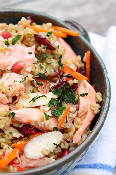 whole grains salad whole grain salmon salad cooking with books