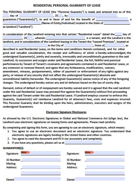 personal guarantee form template personal guarantee agreement forms leases