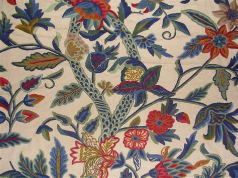crewel upholstery fabric crewel fabric hibiscus vine multicolor on sweetpine cotton