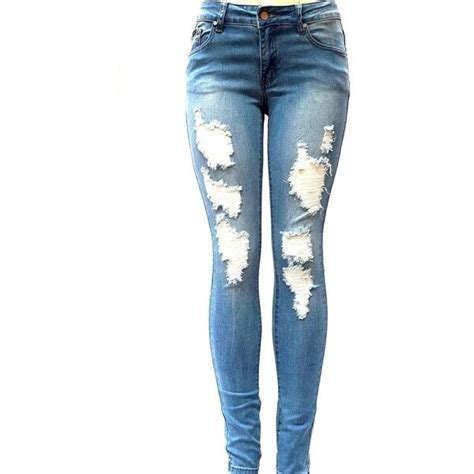 ripped skinny jeans polyvore j c 1826 womens blue denim stretch jeans destroy skinny