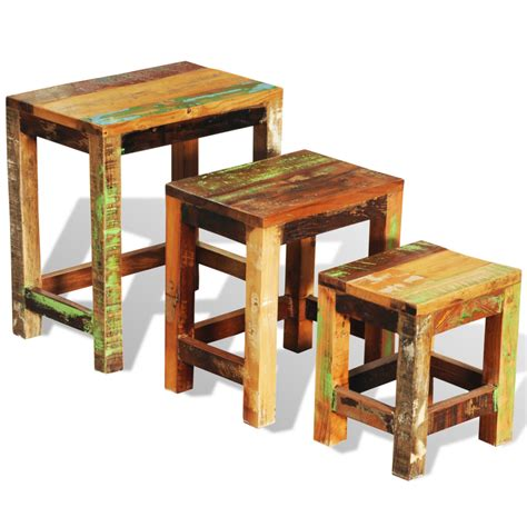 reclaimed wood set of 3 nesting tables vintage antique