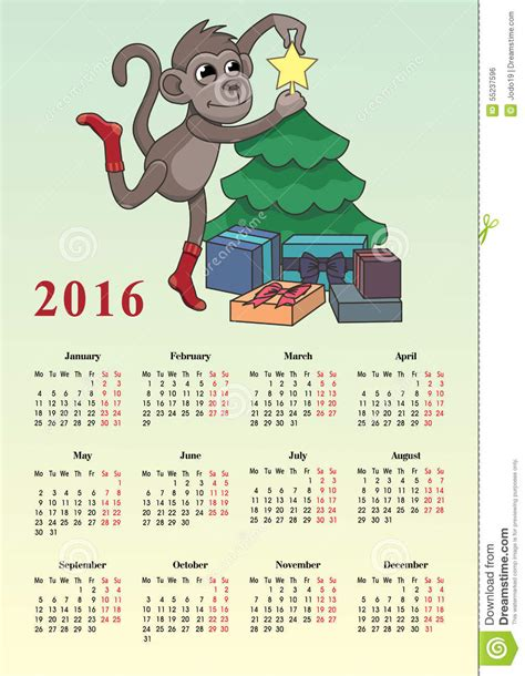 Calendrier Janvier 2016 Avec Numéro De Semaine Calendrier 2016 Avec Un Singe Illustration De Vecteur