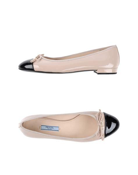 prada flat shoes prada ballet flats in pink lyst