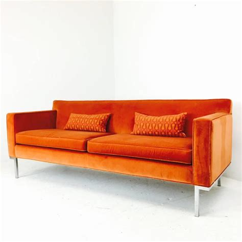 Orange Sofas For Sale by Orange Velvet Theatre Sofa By Ted Boerner For Sale At 1stdibs