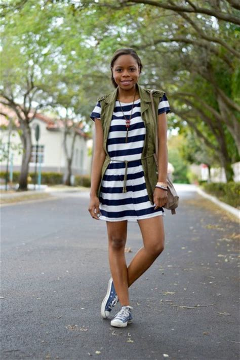 Striped Army Look Dress cha cha the fashion genius striped dress army