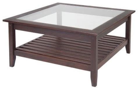 square wood and glass coffee table glass top square coffee table by manchester wood