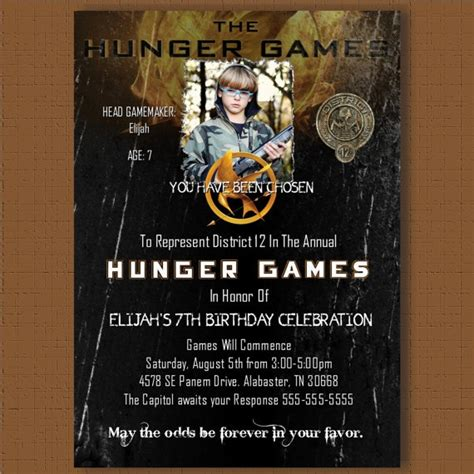 printable hunger games birthday invitations hunger games invitation birthday party card personalized