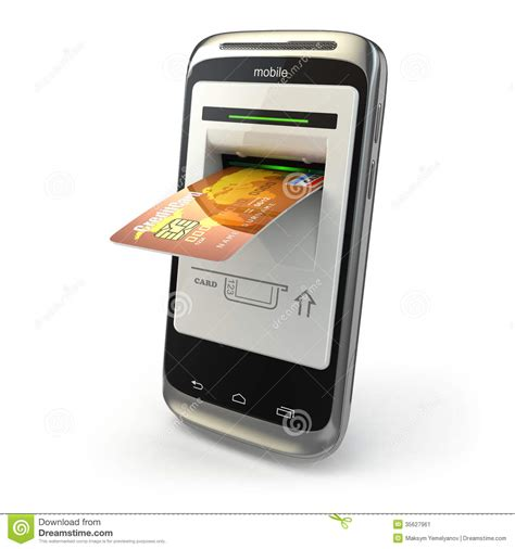 mobile phone bank 3d mobile phone and credit cards stock image