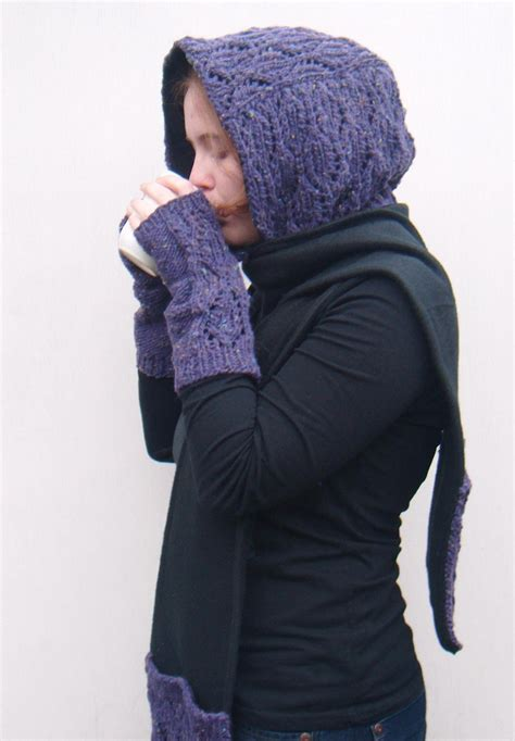 knitting pattern scarf with hood and pockets hooded scarf with pockets pocket scarf hoodie scoodie knit