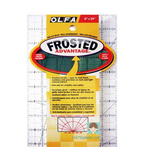 Alat Quilting olfa quilting ruler size 6x24inch frosted advantage acrylic ruler craftbymood