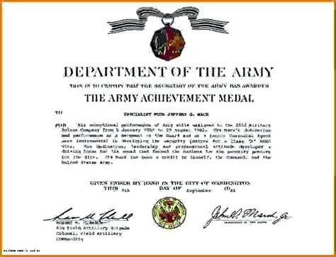 certificate of achievement army template army letters