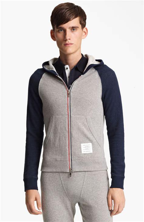 Zipper Reglan Navy Grey thom browne raglan sleeve hoodie in gray for light grey navy lyst