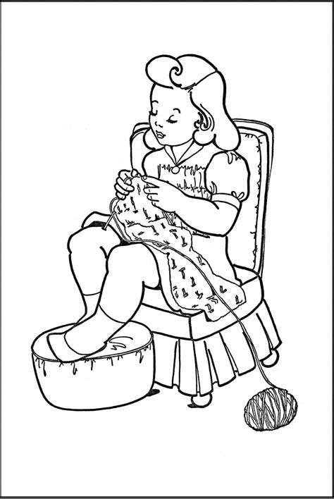 printable vintage coloring book pages printable coloring page knitting the