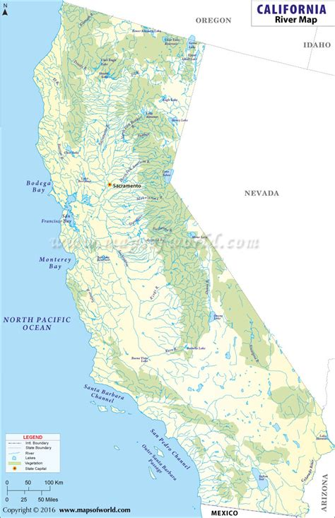 rivers map usa list of rivers in california california river map