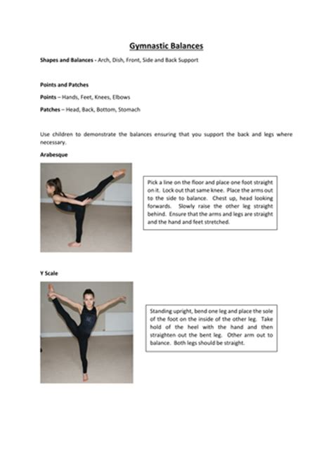 gymnastics lesson plan template gymnastic balances by gymgirl6 teaching resources tes