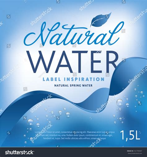 mineral water label template royalty free water label on light blue background