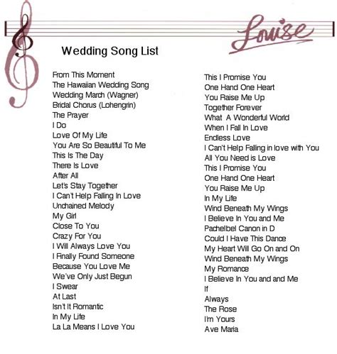 Wedding Song by 25 Best Ideas About Wedding Song List On