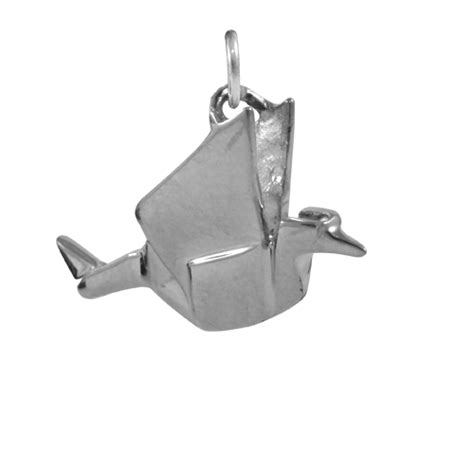 Origami Crane Charm - sterling silver origami crane charm thecharmworks